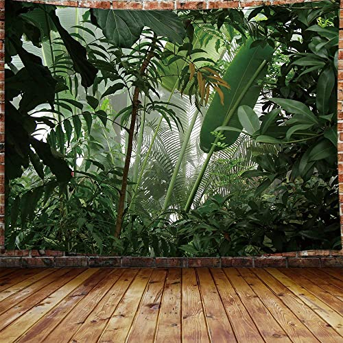JAWO Green Plant Large Tapestry, Aesthetic Banana Palm Tree Leaves Tapestry Wall Hanging for Bedroom, Tropical Forest College Dorm Tapestry Home Decor 90 W X 70 H