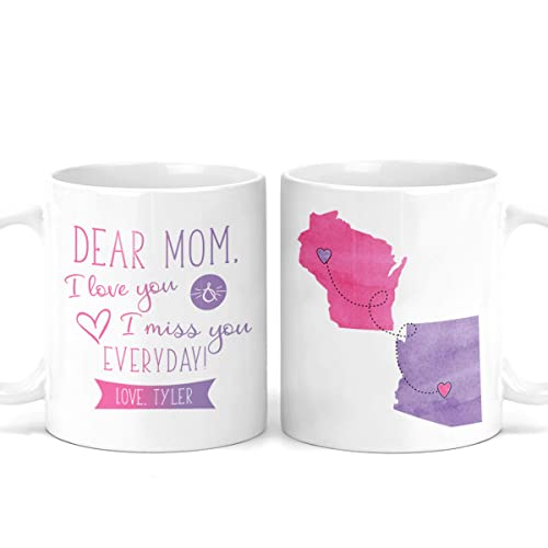Amazon Com Personalized Long Distance Mother S Day Mug Dear Mom Gift For Mom Mom Present Coffee Personalize Birthday Gift Mothers Day Gifts From Daughter Customized M0479 Handmade