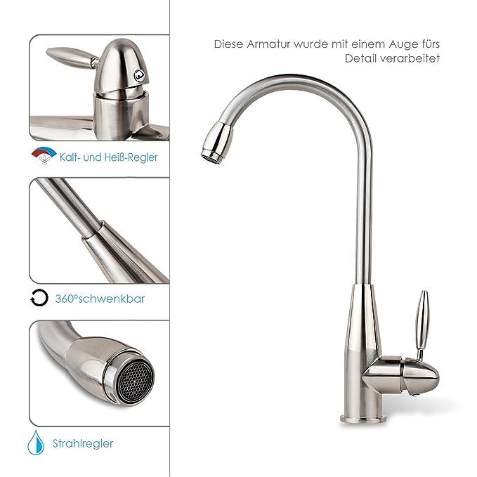 Wasserhahn Küche braun Küchenarmatur Spültischarmatur braun Spültischbatterie MH