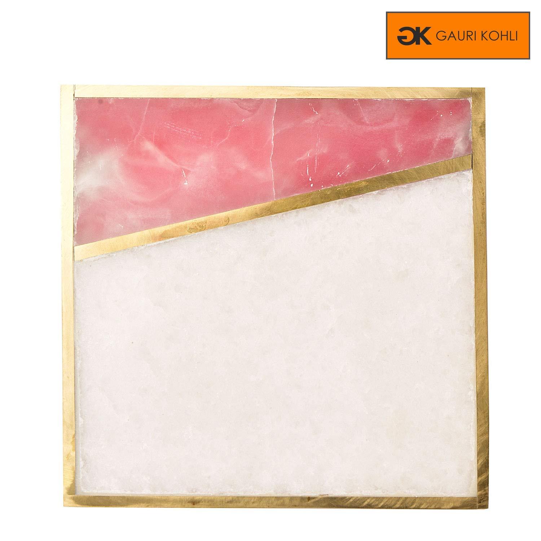 Large Size | Set of 4 GK5137 GAURI KOHLI Beautiful Rose Pink Onyx Marble Coasters With Cork Bottom; Embellished With Luxurious Gold Inlay