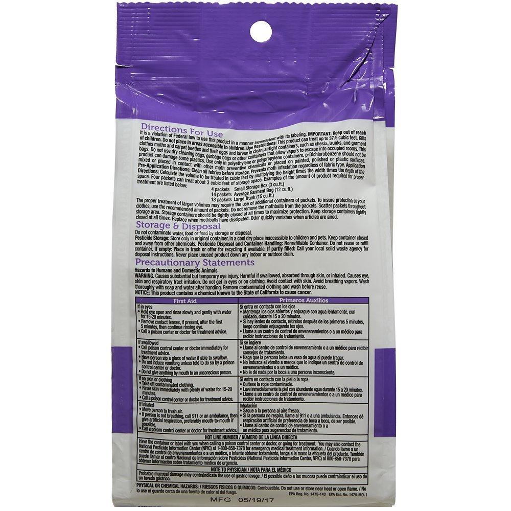 and Eggs and Larvae Bag 1 Carpet Beetles Kills Clothes Moths Enoz Moth-Tek Packets Lavender Scent 12 oz