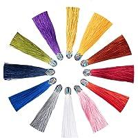 NBEADS Colgantes de Borlas, 12 Colores Colgantes de Borla de 18 cm con Fornitura de Metal para Hacer Joyas de Bricolaje…