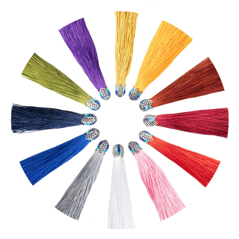 NBEADS Tassel Pendants 12 Pcs 18cm Tassel Pendants with Metal Cap for Craft Making and Decoration 12 Colors