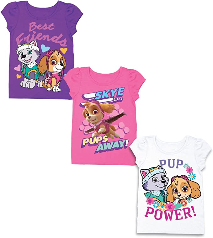 Paw Patrol Pink Heart with 3 paw patrol T-Shirt Girl/'s size 3T short sleeve