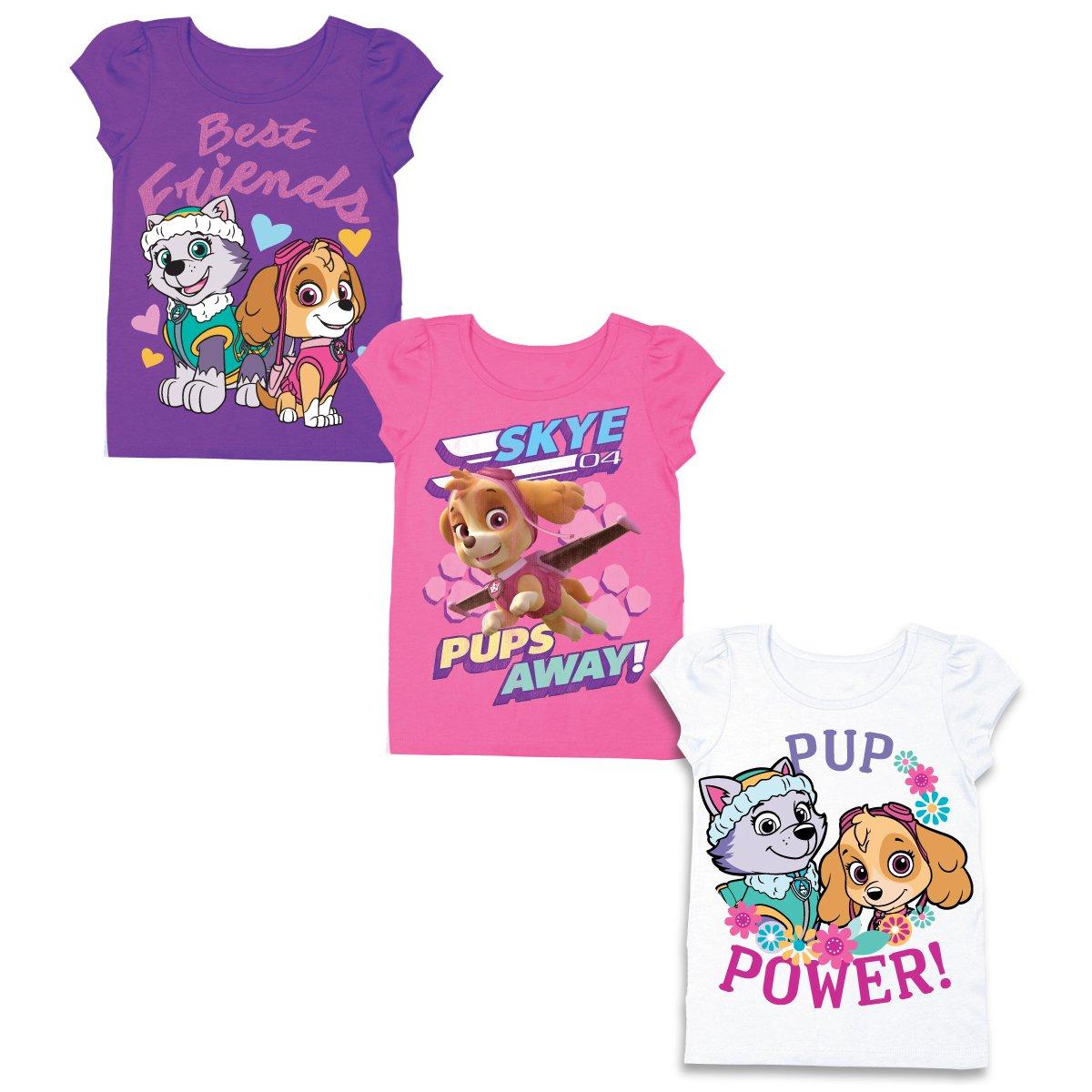 Nickelodeon Girls' Toddler Girls' Paw Patrol 3 Pack T-Shirt Bundle, Grape Violet/Hot Pink/White, 4T