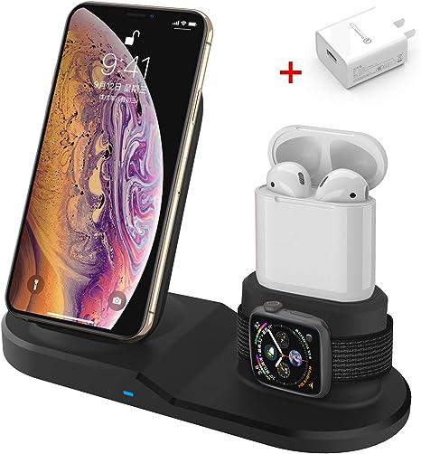 Inalámbrico Cargador Pad de Carga Carga Estación para APPLE IWATCH 2 3 4 Iphone XR 8