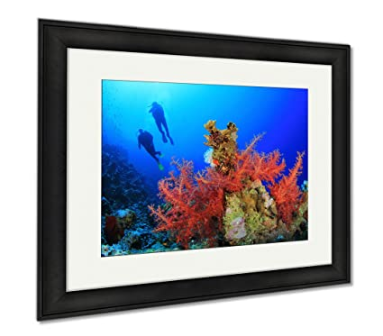 amazon com ashley framed prints two scuba divers dive over a