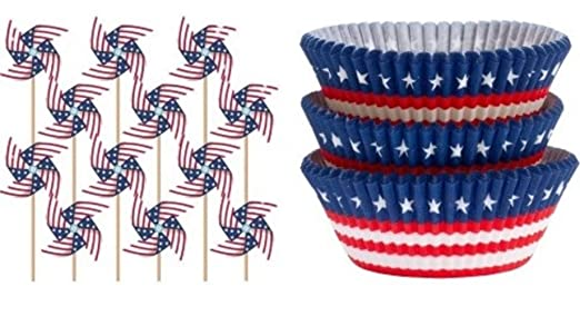 40 American Flag Patriotic Pinwheel Cupcake Toppers and 75 Red White Blue Stars Baking Cups Bundle | Party Supplies for Birthday BBQ Barbecues Picnics