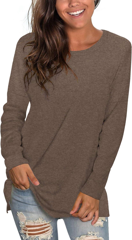 SAMPEEL Womens Fall Tunic Tops for Women Cute Crewneck Long Sleeve T Shirts for Women