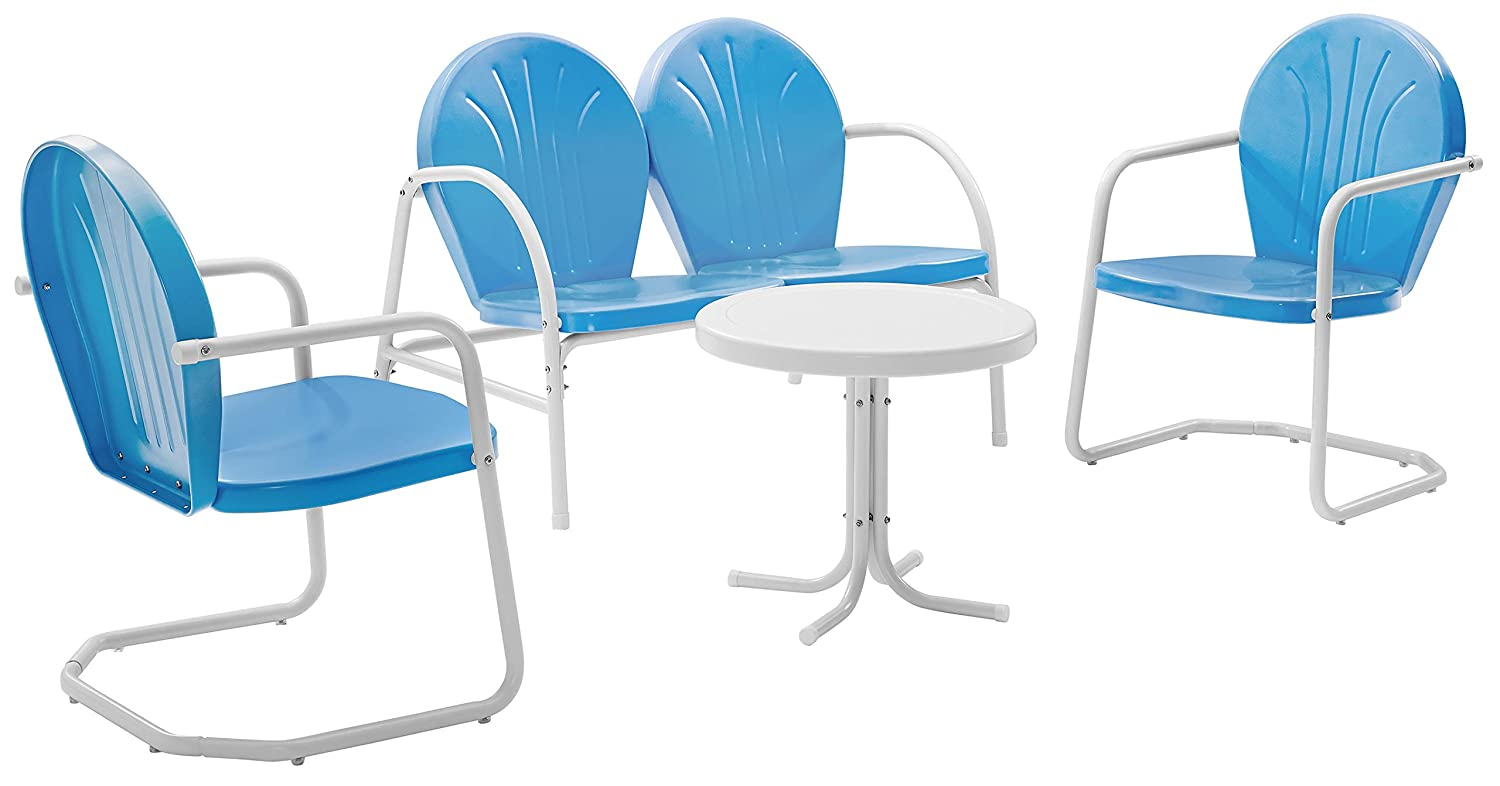 Crosley Furniture Griffith 4-Piece Metal Outdoor Conversation Set with Table, Loveseat, and 2 Chairs - Sky Blue