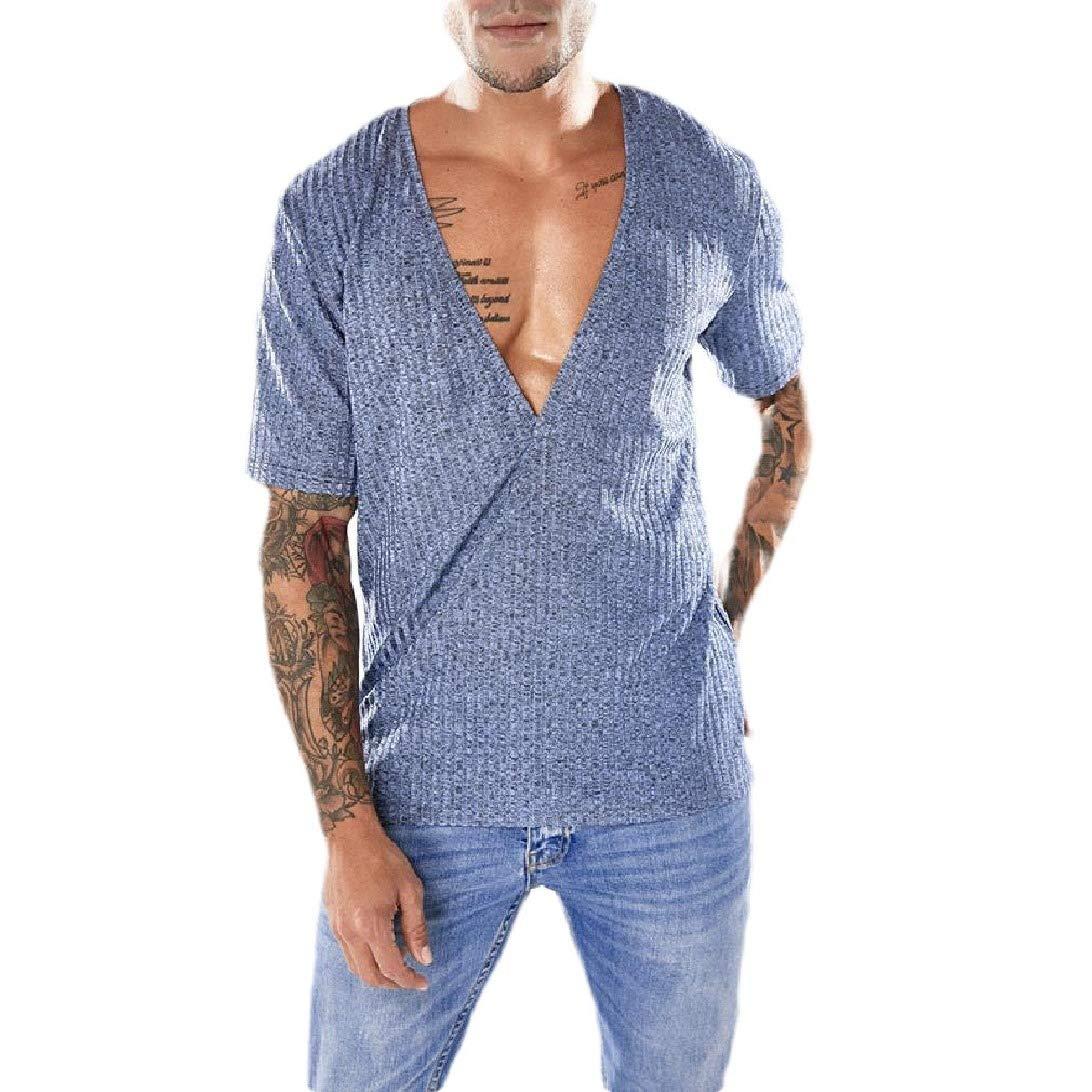 Zimaes-Men Trim-Fit V Neck Solid-Colored Blouse Shirt Short-Sleeve Tops