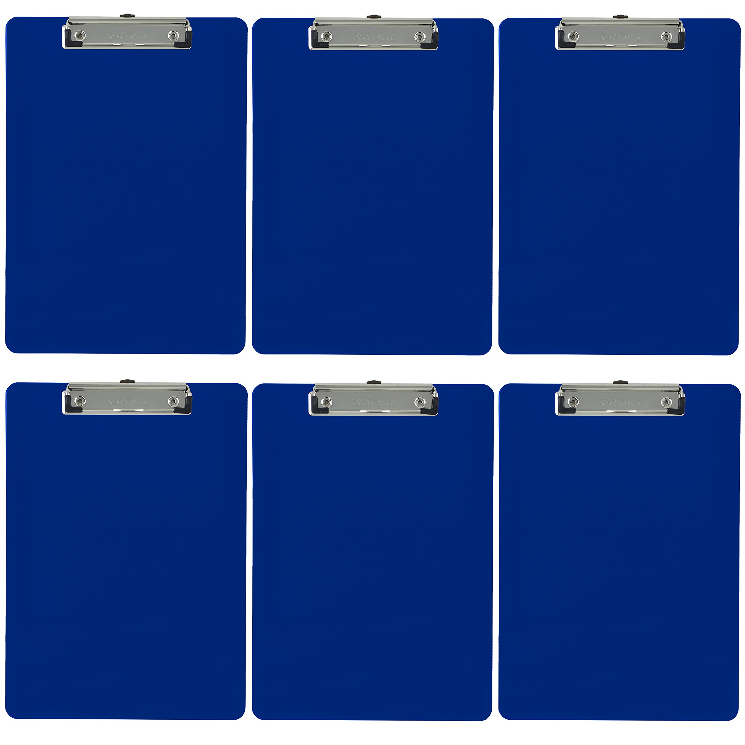 Trade Quest Plastic Clipboard Opaque Color Letter Size Low Profile Clip (Pack of 6) (Dark Blue) by Trade Quest