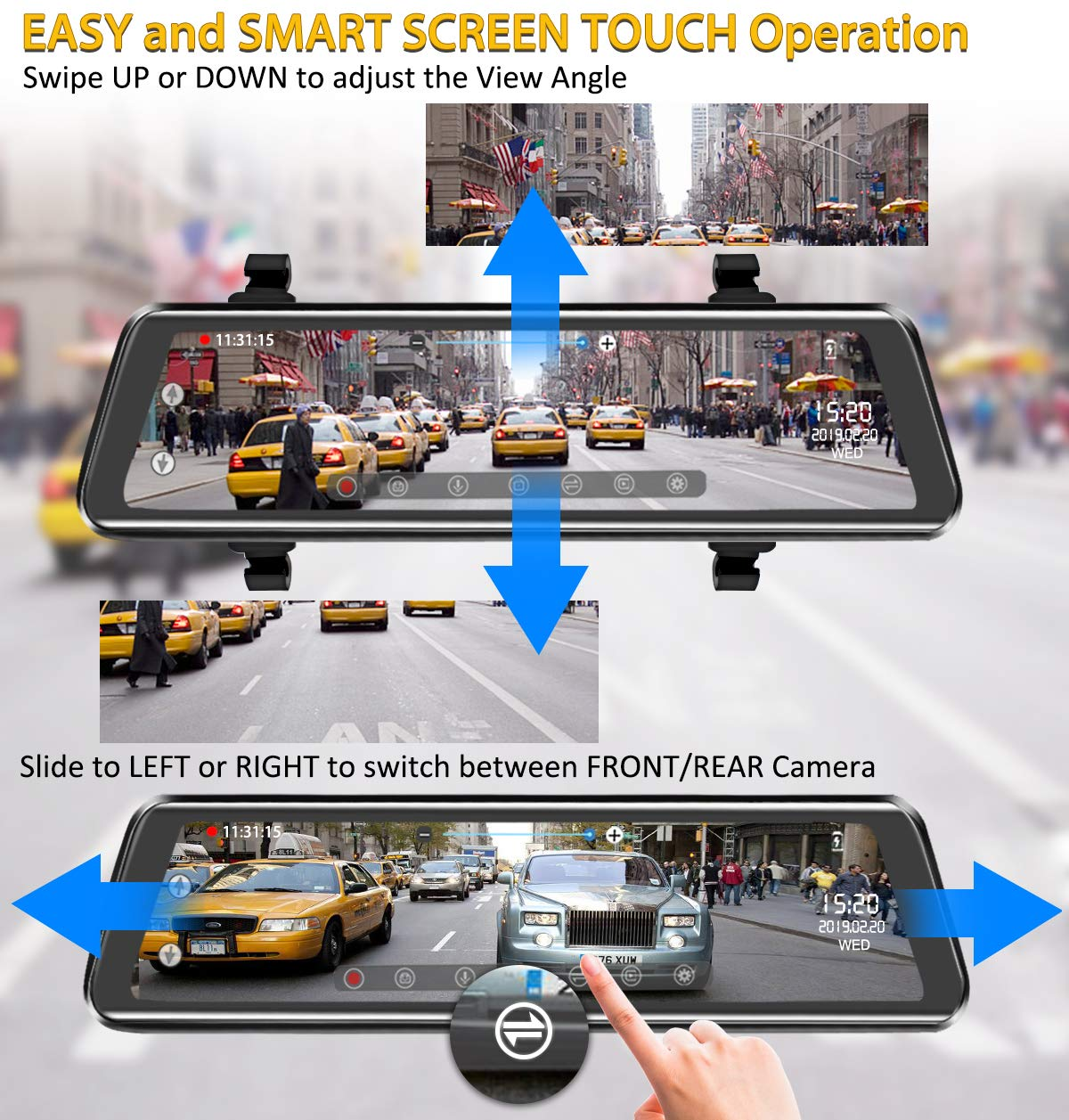 Mirror Dash Cam 9.88 inch Full Touch Screen Car Backup Camera Dual Recording HD Front 1080P 170° Wide Angle 1080P Rear View Camera 150° URVOLAX Night Vision,24-Hour Parking,GPS, SD Card by URVOLAX (Image #4)