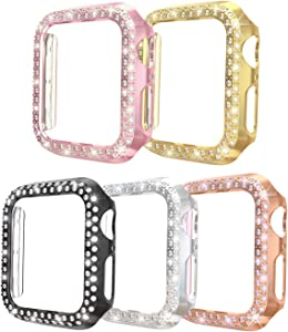 ISENXI Compatible with Apple Watch Case Series 3 38mm, 5 Pack PC Plated Hard Bumper Bling Crystal Diamonds Glitter Frame Protective Cover Compatible for iWatch Series 3 Series 2 Series 1 38mm (5 Pack)