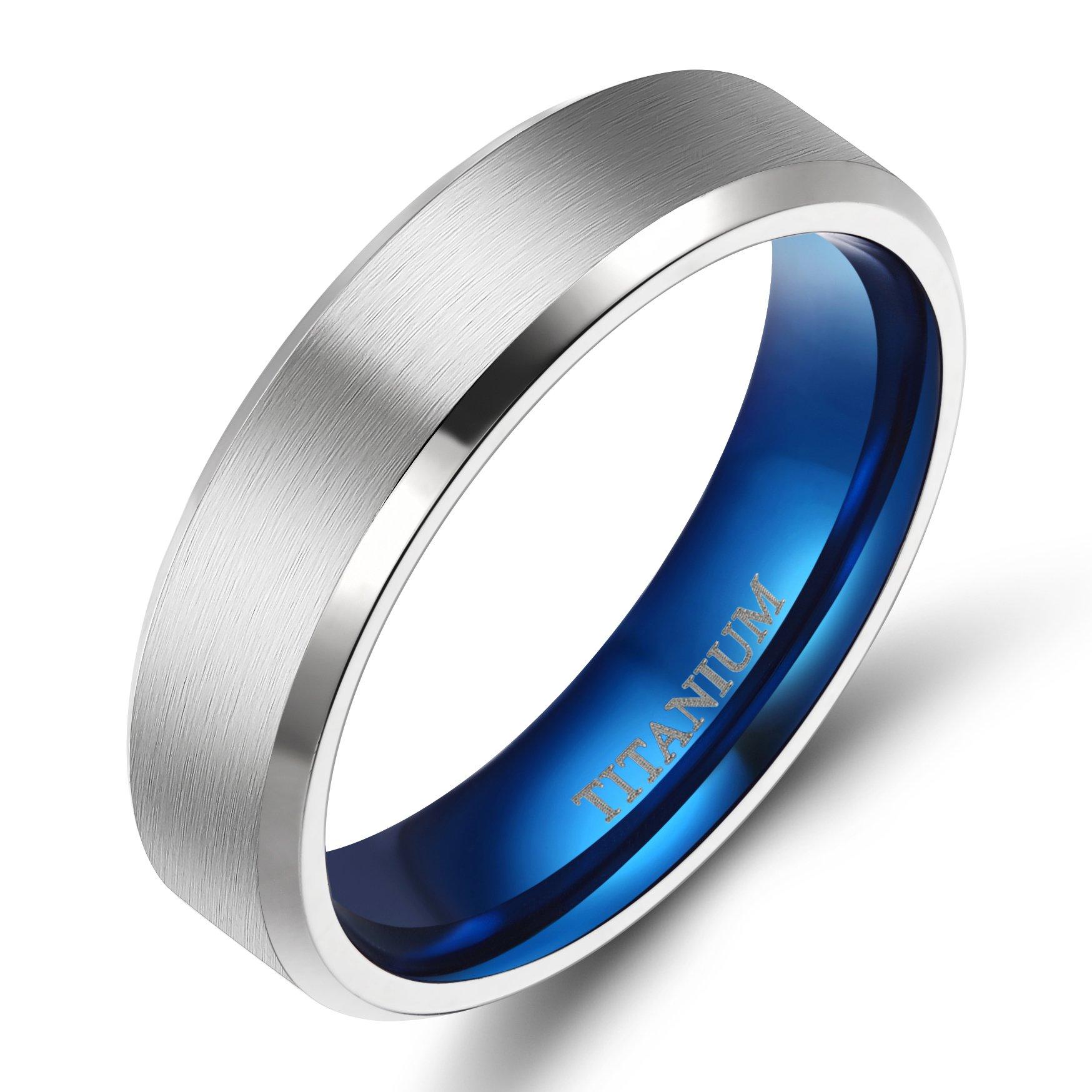 TIGRADE 4MM/6MM/8MM Unisex Titanium Wedding Band Rings in Comfort Fit Matte Finish for Men Women (Blue 6mm, 8.5)