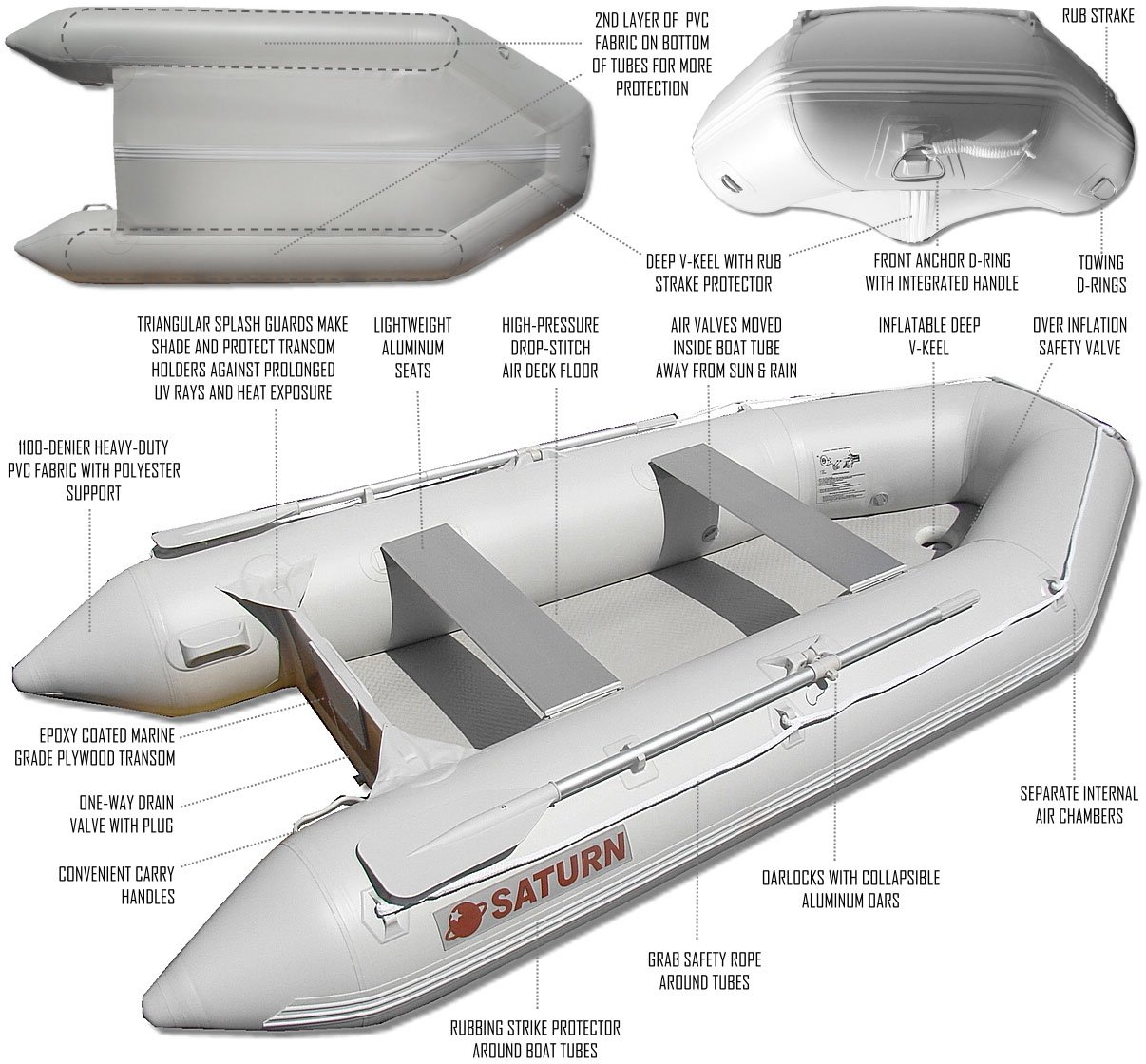 SATURN 11 ft Inflatable Boat Dinghy Raft Tender