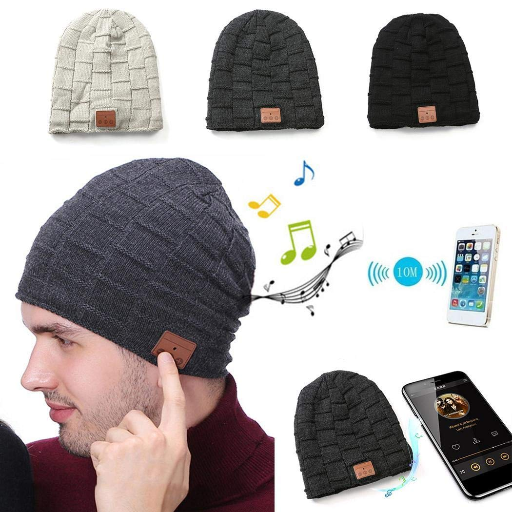 Amazon.com  Kaluo Unisex Soft Solid Wireless Earphone Bluetooth Beanie Hat  Warm Knitted Hat Skullies   Beanies  Clothing f6a0022e778b