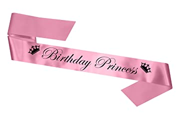 'Birthday Princess' Party Sash 13th 16th 18th 21st 30th Gift (Baby Pink)
