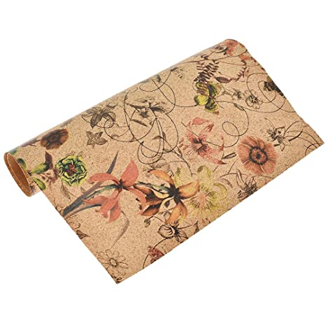 Amazon.com: CHZIMADE 0.5 Yard Flower Print Leather Fabric ...