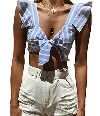 LemonGirl Womens Wrap Chest Sexy Crop Top Blusas Cortas ...