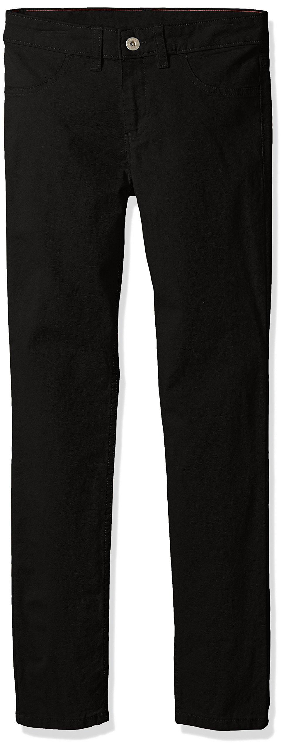 Dickies Big Girls' Super Skinny Stretch Pant, Rinsed Black, 14