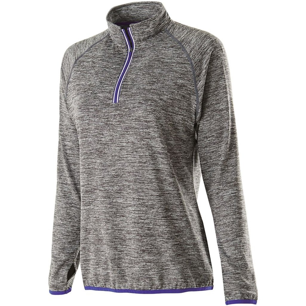 Holloway Dry Excel Ladies Force Full Zip Jacket (X-Large, Carbon Heather/Purple) by Holloway
