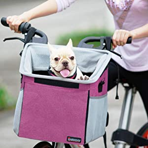 Pet Carrier Bicycle Basket Bag Pet Carrier/Booster Backpack for Dogs and Cats with Big Side Pockets,Comfy & Padded Shoulder Strap,Travel with Your Pet Safety