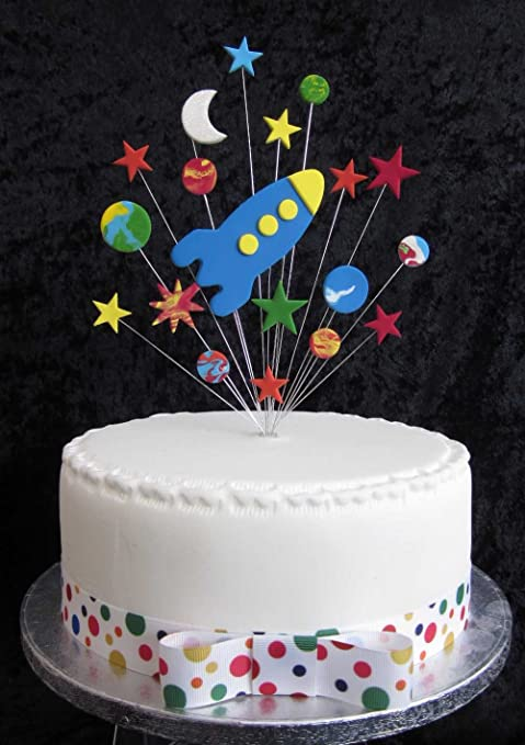 Rocket With Stars Planets And Moon Birthday Cake Topper Ideal For A