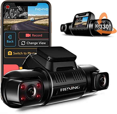 REXING V2 PRO Full HD Dual Camera 2.7 LCD Screen Dash and Inside Cabin Infrared Night Vision Full HD 1080p W Single Channel 2160p WiFi Car Taxi Dash Cam Supercapacitor