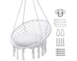 Y- STOP Hammock Chair Macrame Swing, Hanging Cotton Rope Swing Chair with Cushion and Hardware Kits, Max 330 Lbs, Hanging Cha
