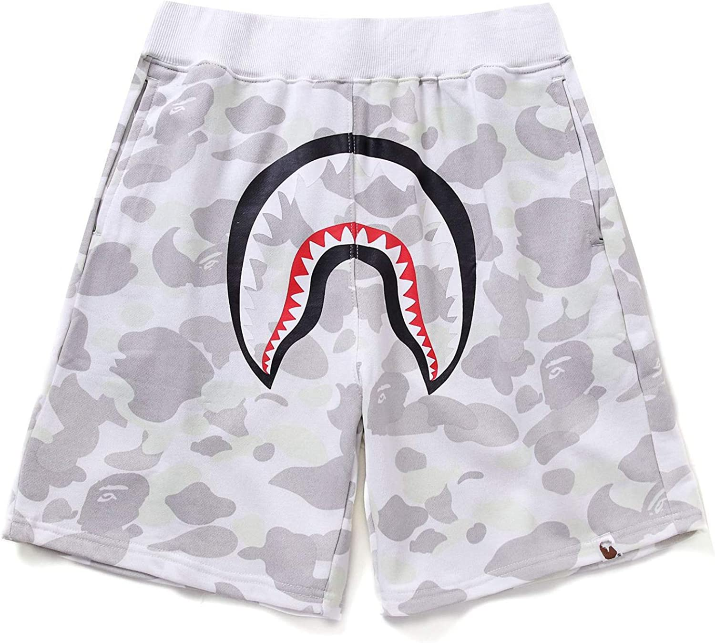 Athletic Pants Shark Pattern Hip hop Camouflage Stitching Shorts Men Drawstring Sports Shorts