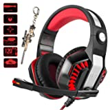 Pro Gaming Headset for PC PS4 Xbox One with Mic Over-Ear Headphones for Laptop Computer Games with Noise Cancelling Stereo 50mm Driver Memory Earmuffs Volume Control Gift for Kids Boy Teens (Color: red-2)