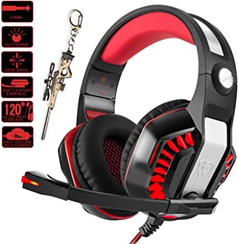 Pro Gamer PS4 Headset for PlayStation 4 Xbox One /& PC Computer Red Headphones 3