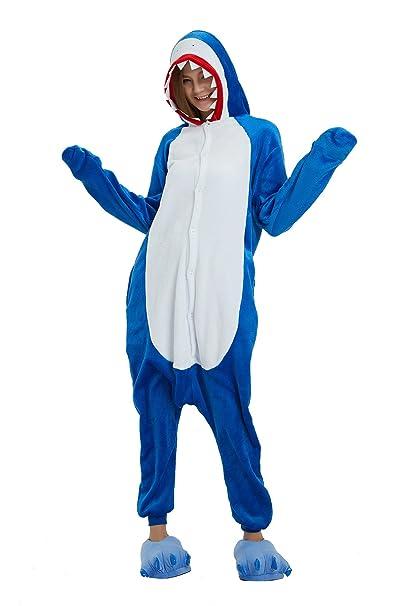 Pijamas de tiburón Azul Adulto Unisex Animal Cosplay Traje de Franela Ropa de Dormir para Hombre