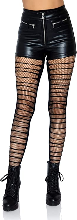 Holes Distressed Opaque Striped Thigh High Stockings Punk Ripped Halloween