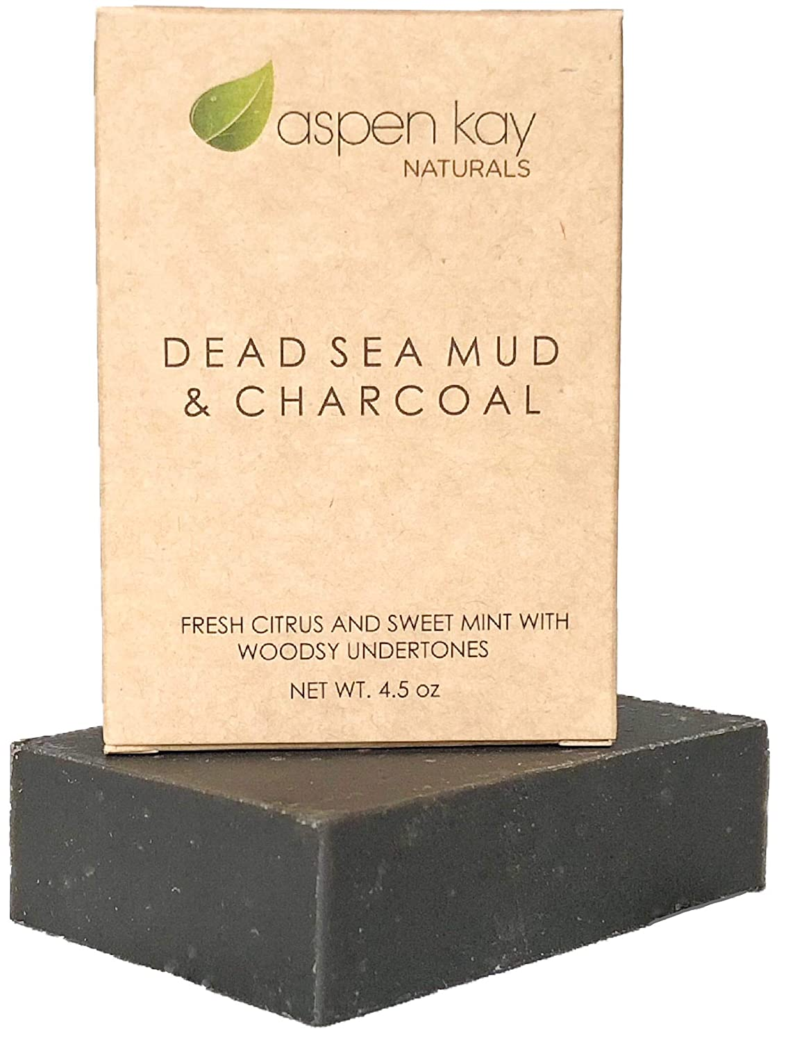 Dead Sea Mud Soap Bar 100% Organic & Natural. With Activated Charcoal & Therapeutic Grade Essential Oils. Face Soap or Body Soap. For Men, Women & Teens. Chemical Free. 4oz Bar. Aspen Kay Naturals