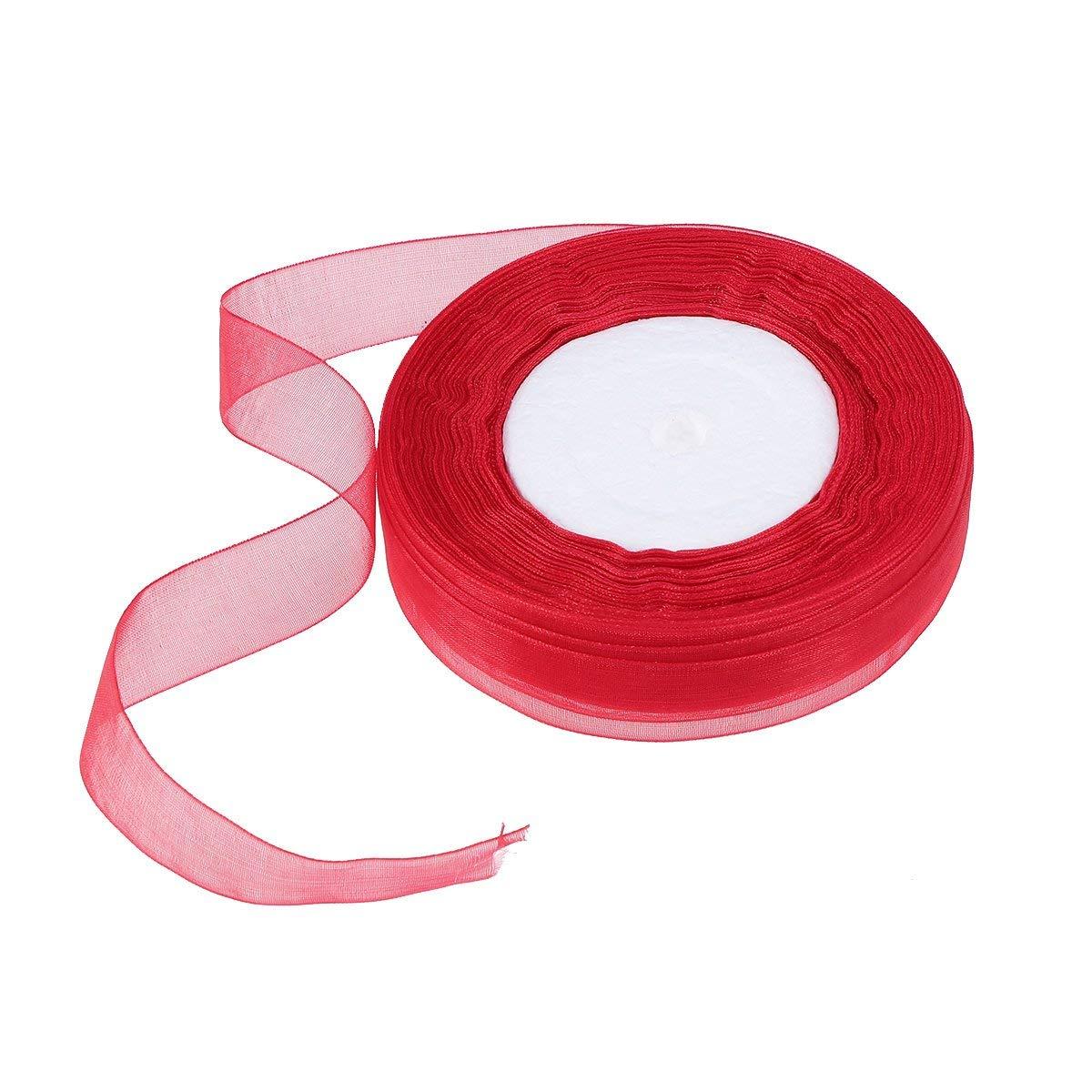 feste di compleanno 2 cm fai da te decorazione per matrimoni nastro di raso luccicante rosso Nastro di organza