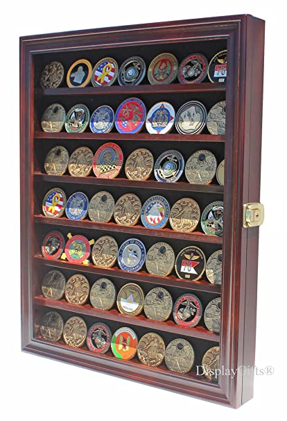 Lockable Military Challenge Coin Display Case Cabinet Rack Holder (Mahogany  Finish)