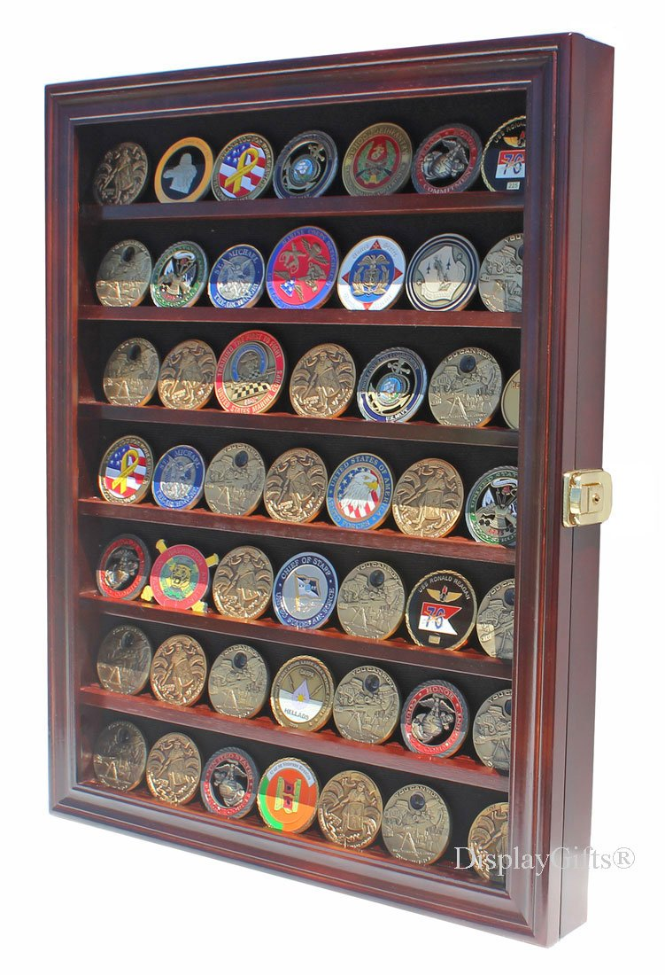 LOCKABLE Military Challenge Coin Display Case Cabinet Rack Holder, LOCKABLE - Mahogany Finish