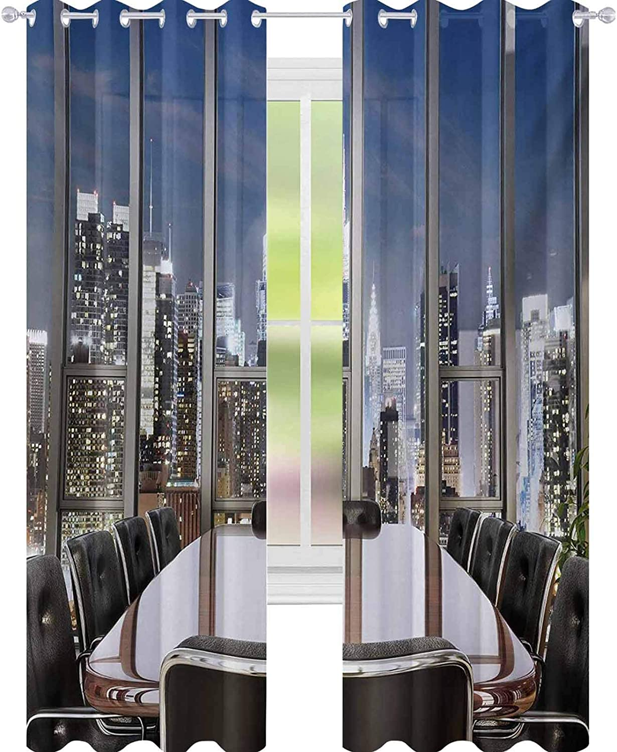 """YUAZHOQI Modern Thermal Insulated Blackout Curtain Business Office Conference Room Table Chairs City View at Dusk Realistic Photo Decorative Curtains for Living Room 52"""" x 95"""" Grey Black Blue"""