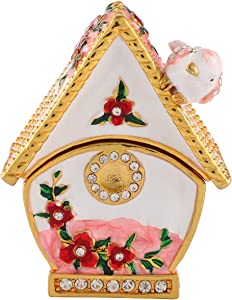 FASALINO Bird House Trinket Box Hinged Enameled Jewelry Box Hand-Painted Classic Animals Ornaments Craft Gift for Home Decor