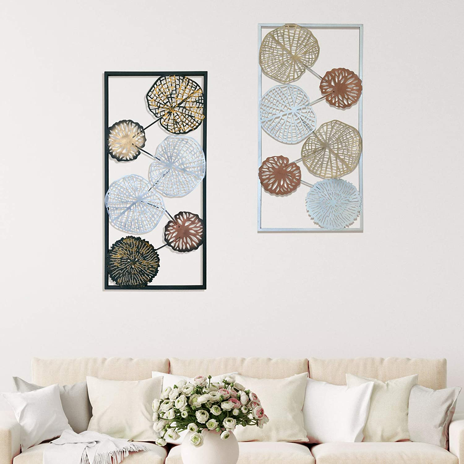 Amazon Com Decorshore Contemporary Metal Wall Art Set Of 2 Framed Wall Decorations Modern Metal Home Decor Large Wall Decor Leaves Nature Metal Decorative Wall Art Home Kitchen