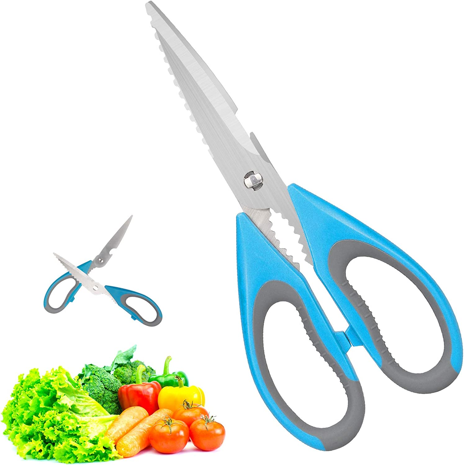 Kitchen Shears,Stainless-Steel Multi-Purpose Heavy-Duty Scissors Safe Utility Scissors for Cutting Chicken, Poultry, Seafood, Meat, Vegetables, Herbs, Food - Sharp Blades
