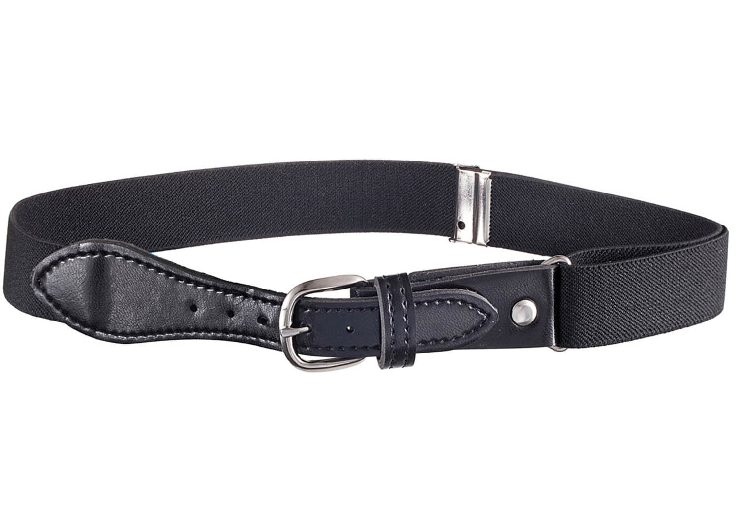 Kids Elastic Adjustable Strech Belt with Leather Closure - Black