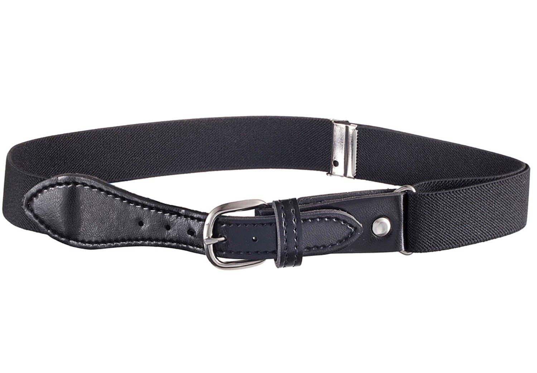 Kids Elastic Adjustable Strech Belt with Leather Closure - Black