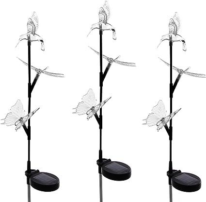 Solarlampe Set Schmetterling Kolibri LED Farbwechsel 80 cm 3farbig Solar Leuchte