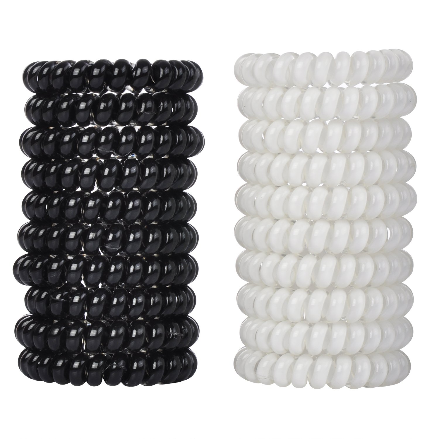 LucyGod 20 PCS No Crease Spiral Hair Ties Spiral Coil Hair Elastics No Damage Hair Band Ponytail Holder, Black& White