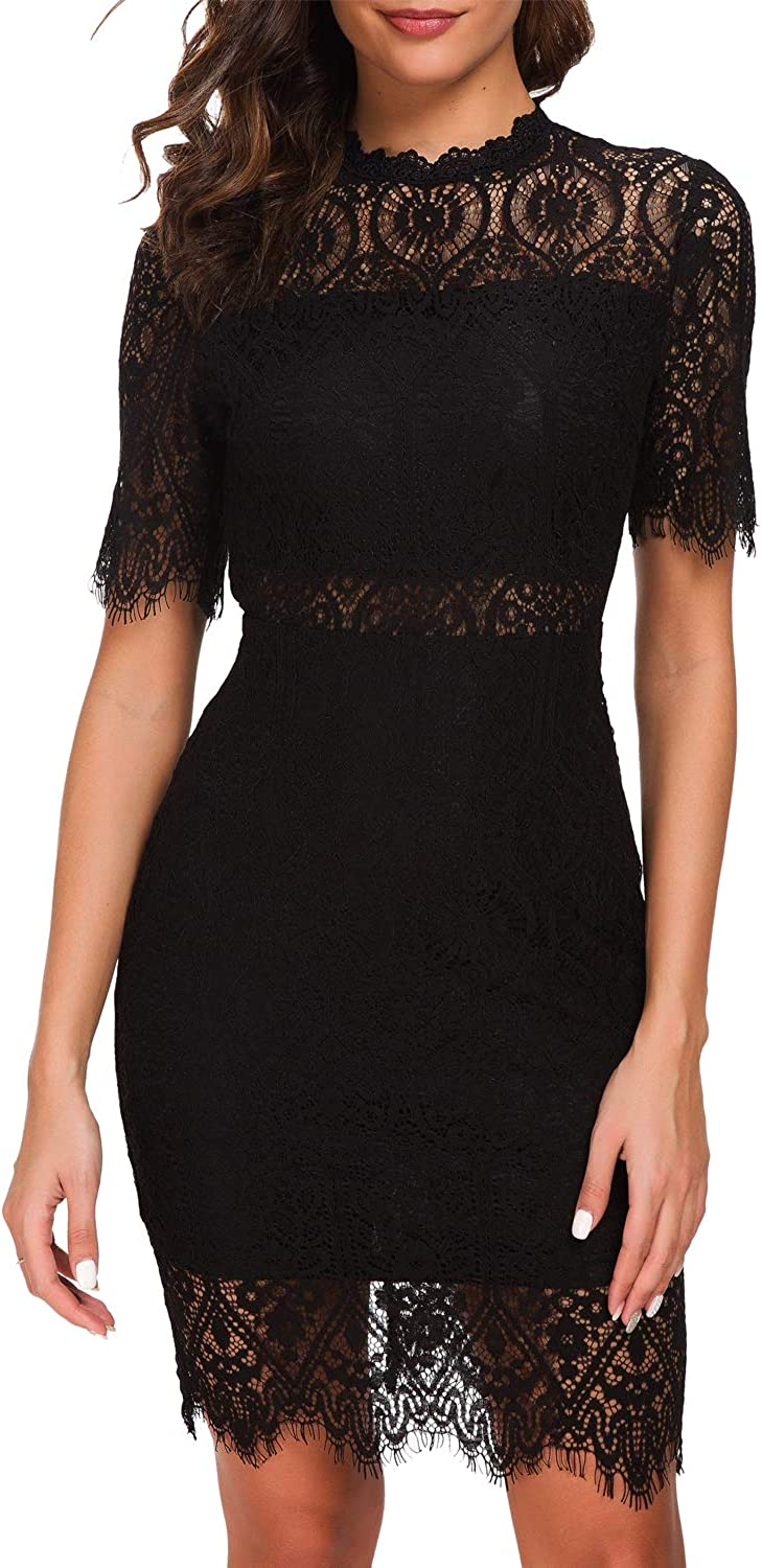 Zalalus Womens Cocktail Dress High Neck Lace Dresses for Special Occasions
