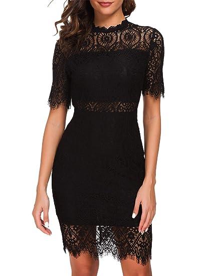e8d94c9bebe98 Zalalus Women's Elegant High Neck Short Sleeves Lace Cocktail Party Dress
