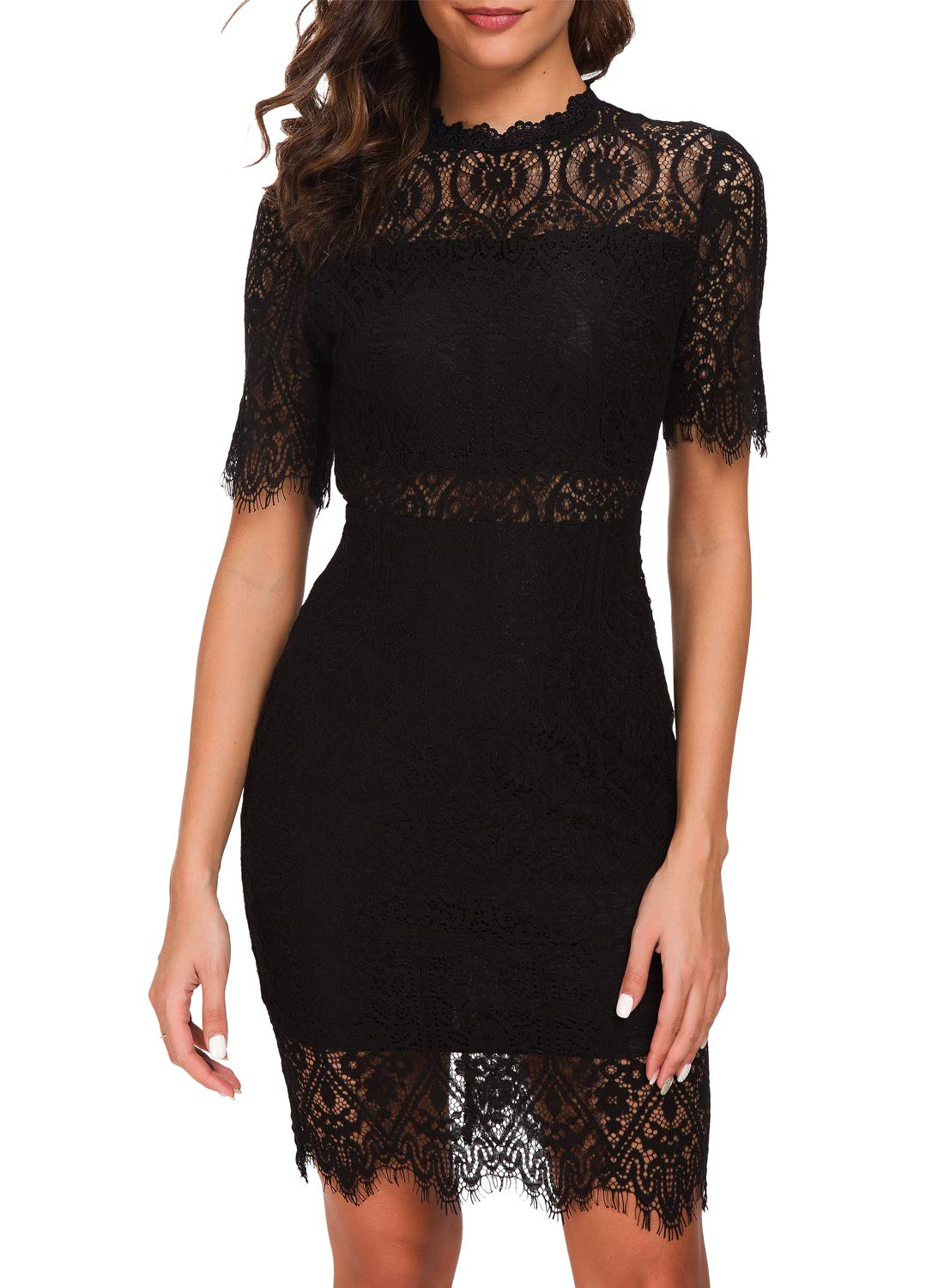 Zalalus-Womens-Elegant-High-Neck-Short-Sleeves-Lace-Cocktail-Party-Dress